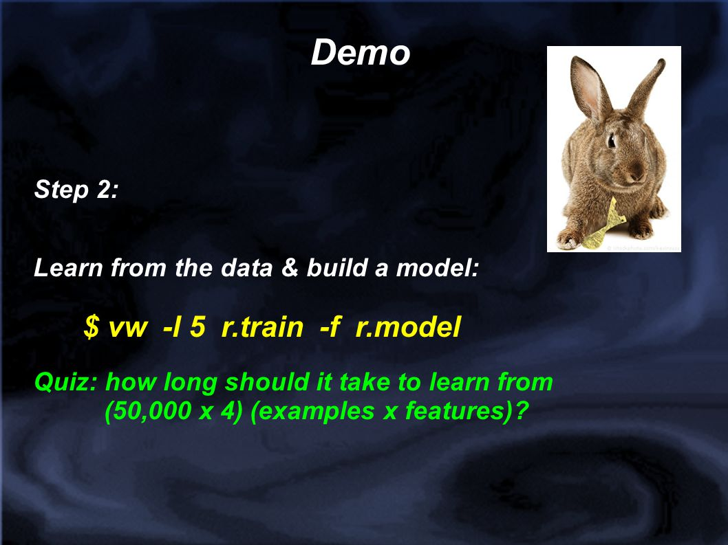 Demo Step 2: Learn from the data & build a model: