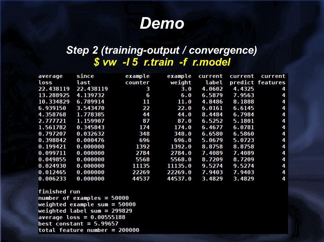 Step 2 (training-output / convergence)