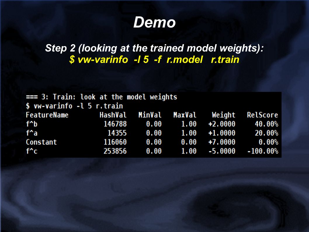 Demo Step 2 (looking at the trained model weights):