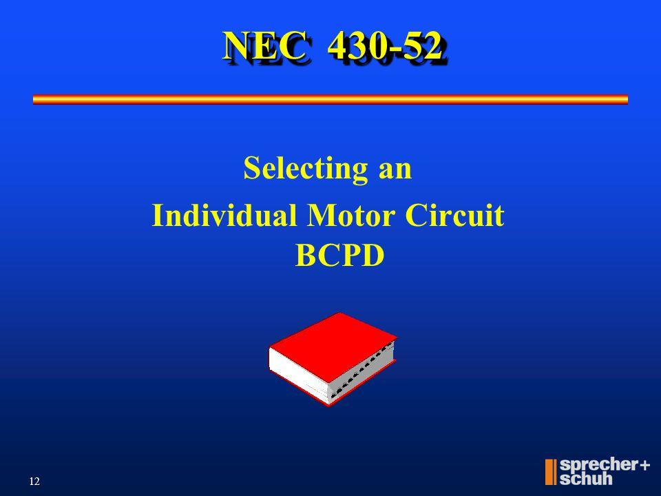 Selecting an Individual Motor Circuit BCPD