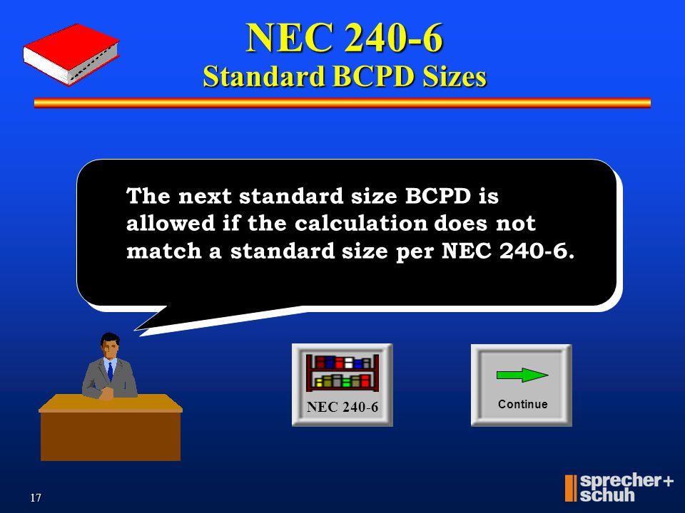 NEC 240-6 Standard BCPD Sizes