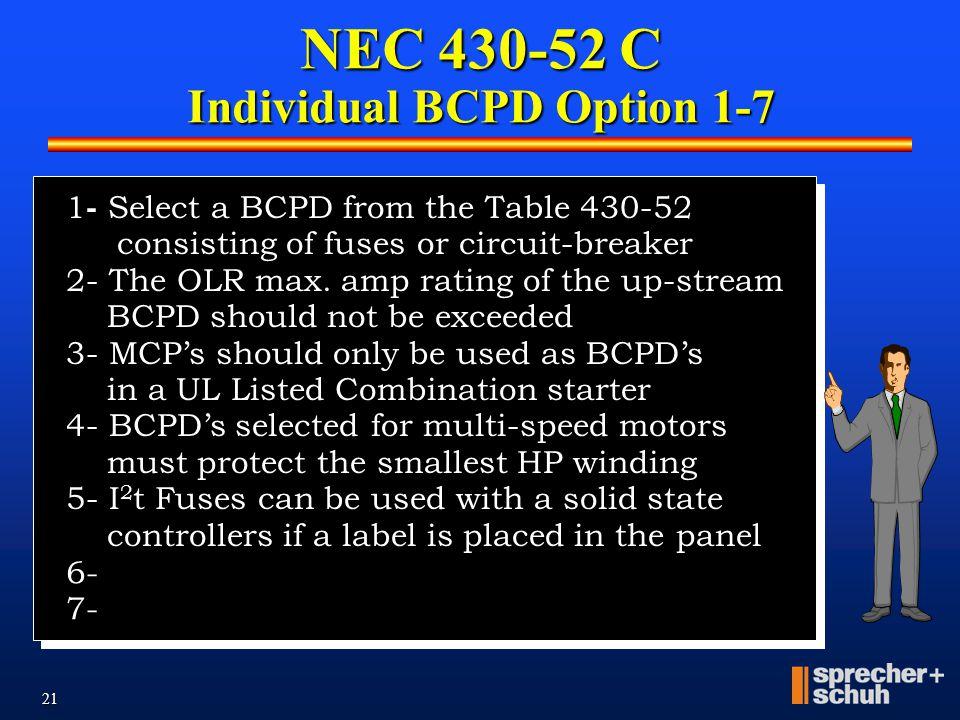 NEC 430-52 C Individual BCPD Option 1-7
