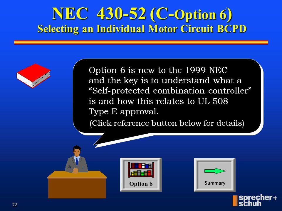 NEC 430-52 (C-Option 6) Selecting an Individual Motor Circuit BCPD