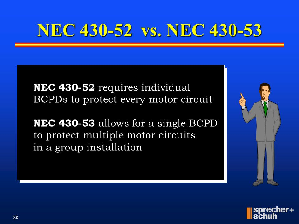 NEC 430-52 vs. NEC 430-53 NEC 430-52 requires individual BCPDs to protect every motor circuit. NEC 430-53 allows for a single BCPD.