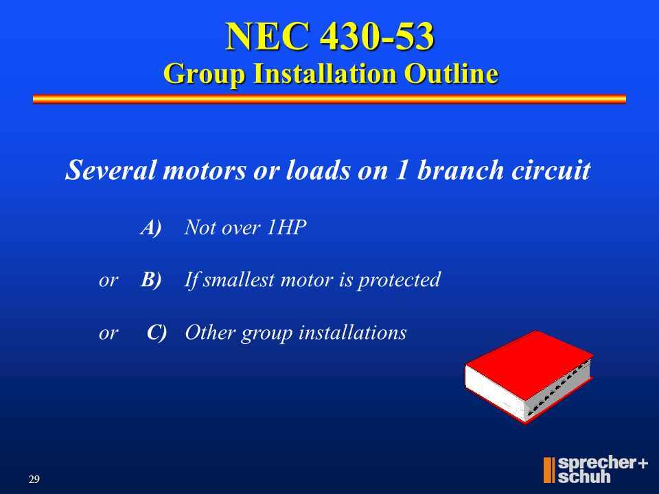 NEC 430-53 Group Installation Outline
