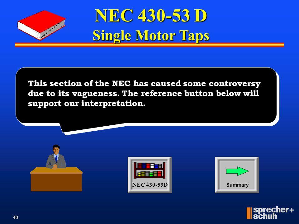 NEC 430-53 D Single Motor Taps