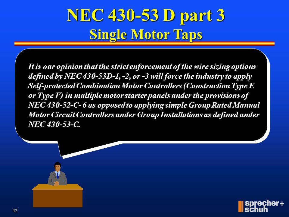 NEC 430-53 D part 3 Single Motor Taps