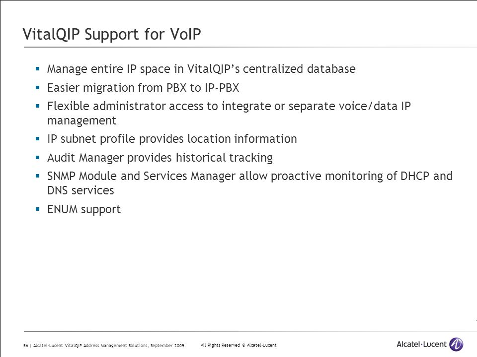 VitalQIP Support for VoIP
