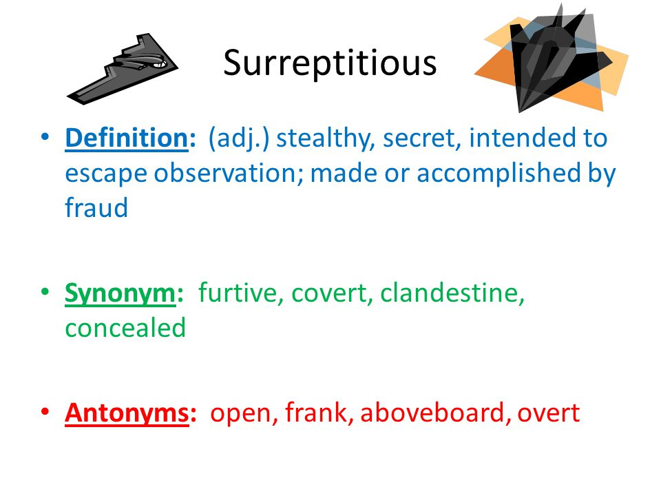 Surreptitious Definition: (adj.) stealthy, secret, intended to escape observation; made or accomplished by fraud.