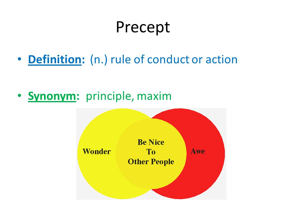 Precept Definition: (n.) rule of conduct or action