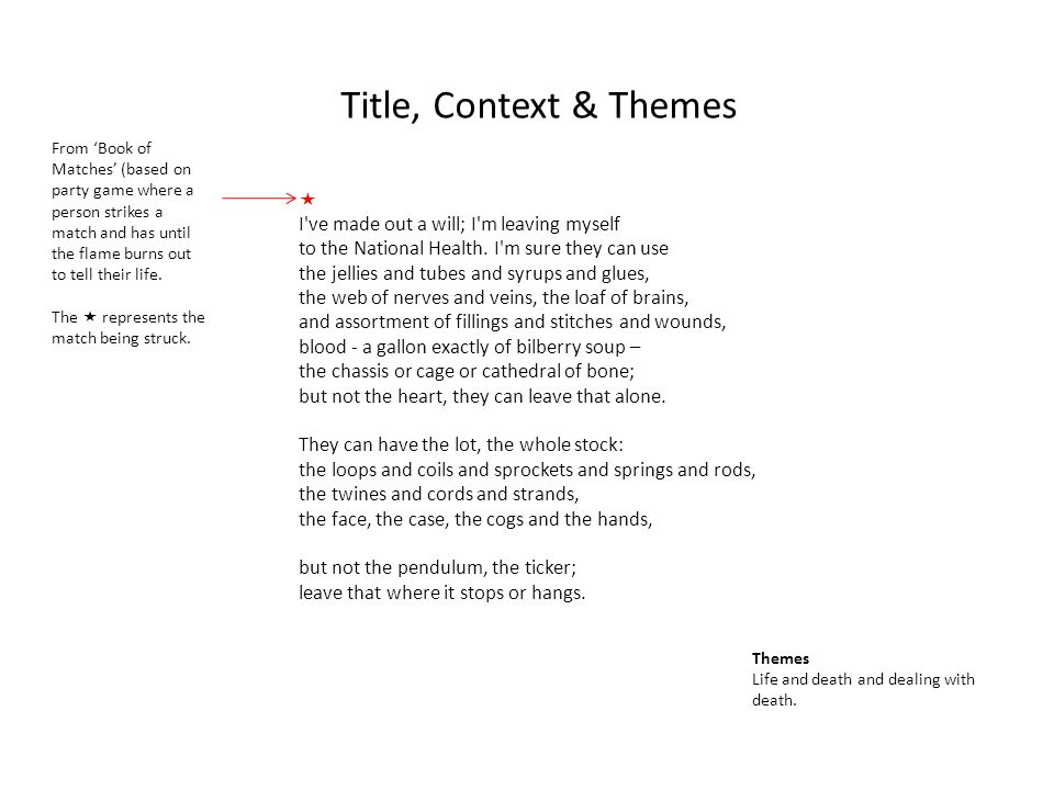 Title, Context & Themes  I ve made out a will; I m leaving myself