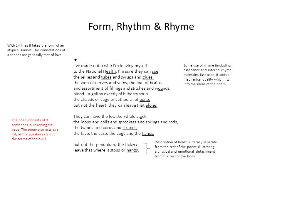 Form, Rhythm & Rhyme  I ve made out a will; I m leaving myself