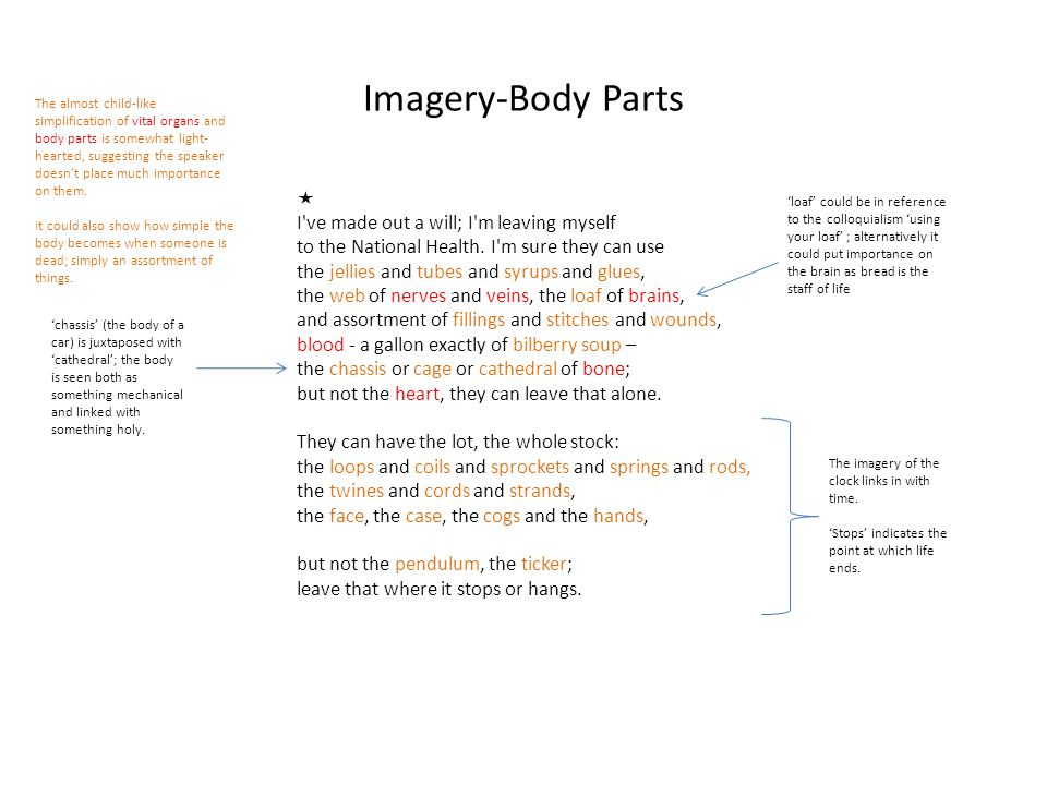 Imagery-Body Parts  I ve made out a will; I m leaving myself