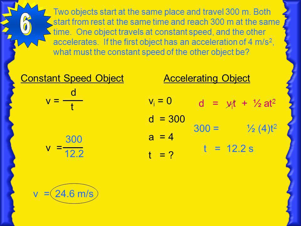 6 Constant Speed Object d t v = Accelerating Object vi = 0 d = 300
