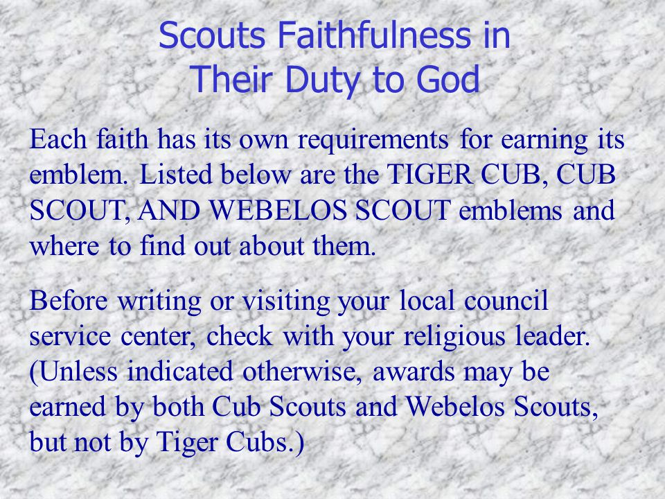 Scouts Faithfulness in Their Duty to God