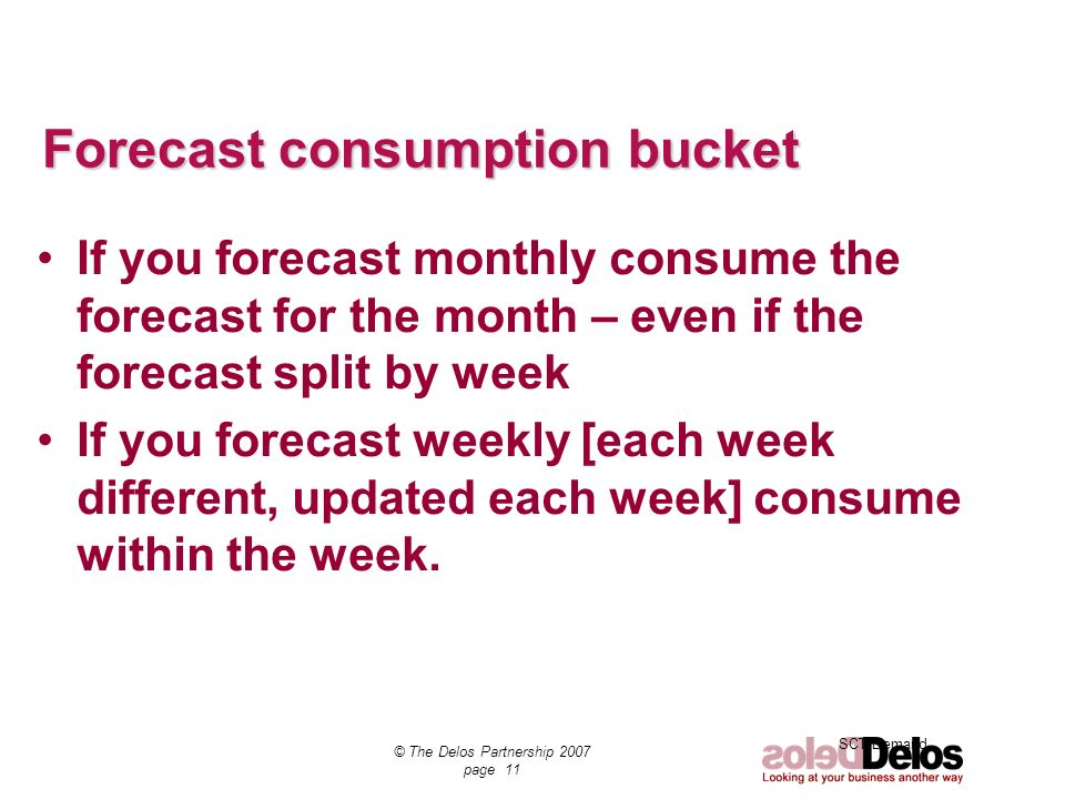 Forecast consumption bucket