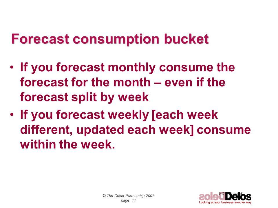 Forecast consumption bucket