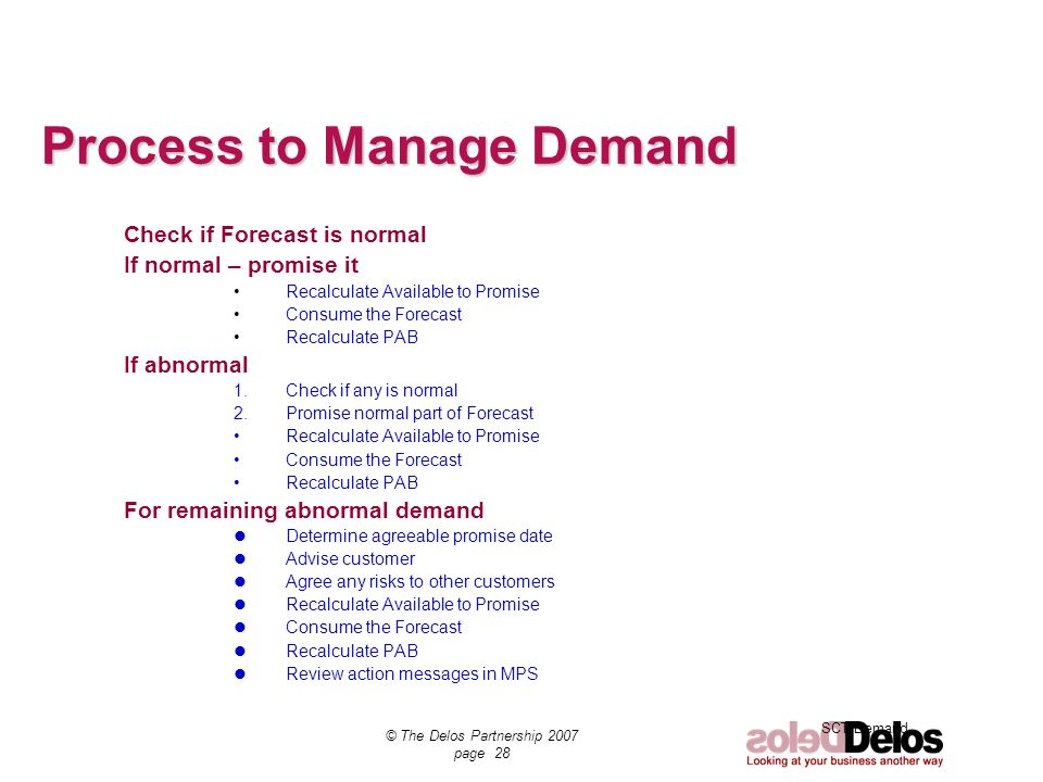 Process to Manage Demand