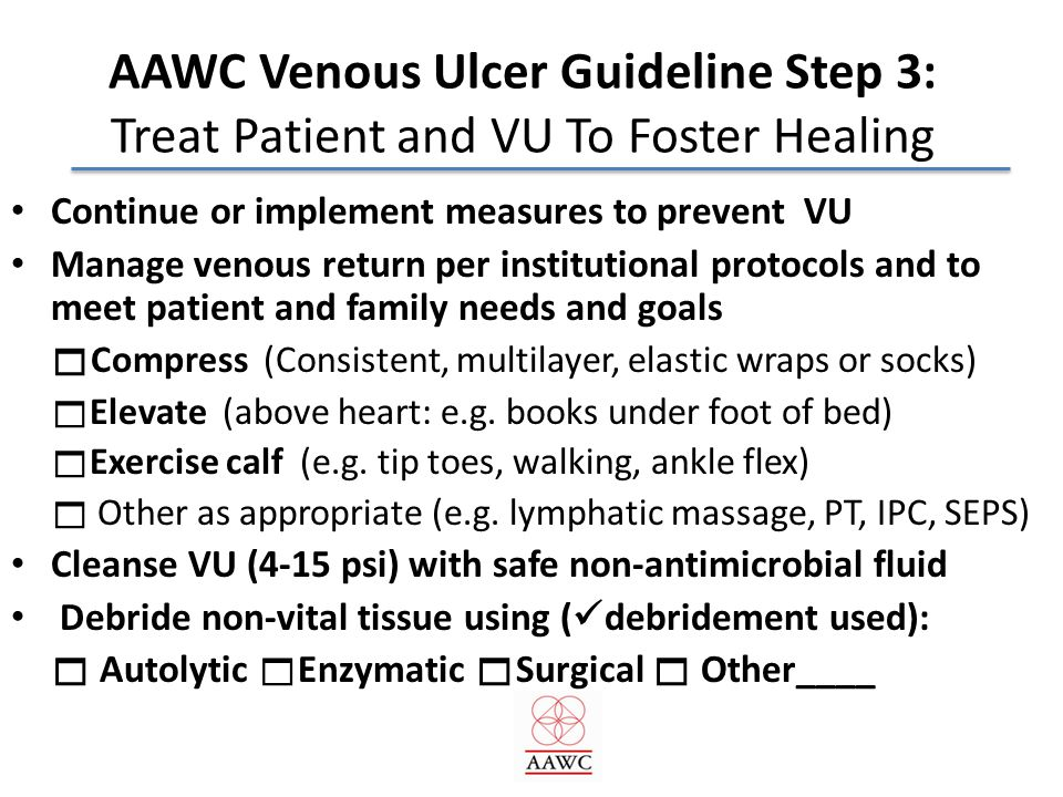 AAWC Venous Ulcer Guideline Step 3: Treat Patient and VU To Foster Healing