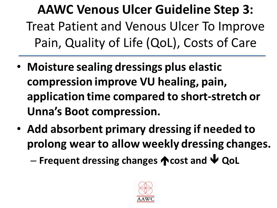 AAWC Venous Ulcer Guideline Step 3: Treat Patient and Venous Ulcer To Improve Pain, Quality of Life (QoL), Costs of Care
