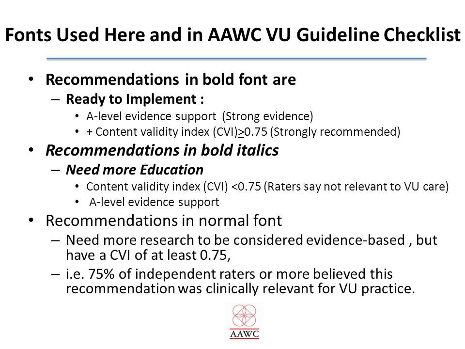 Fonts Used Here and in AAWC VU Guideline Checklist
