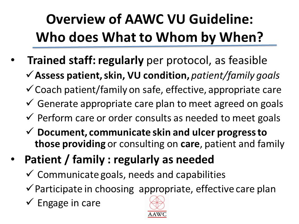 Overview of AAWC VU Guideline: Who does What to Whom by When