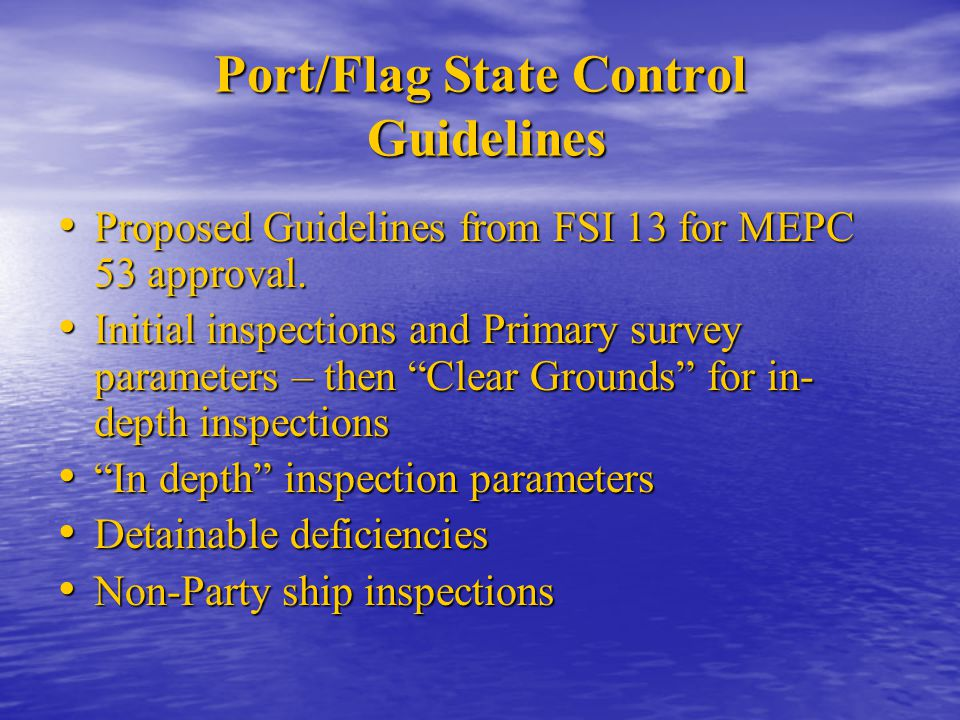 Port/Flag State Control Guidelines