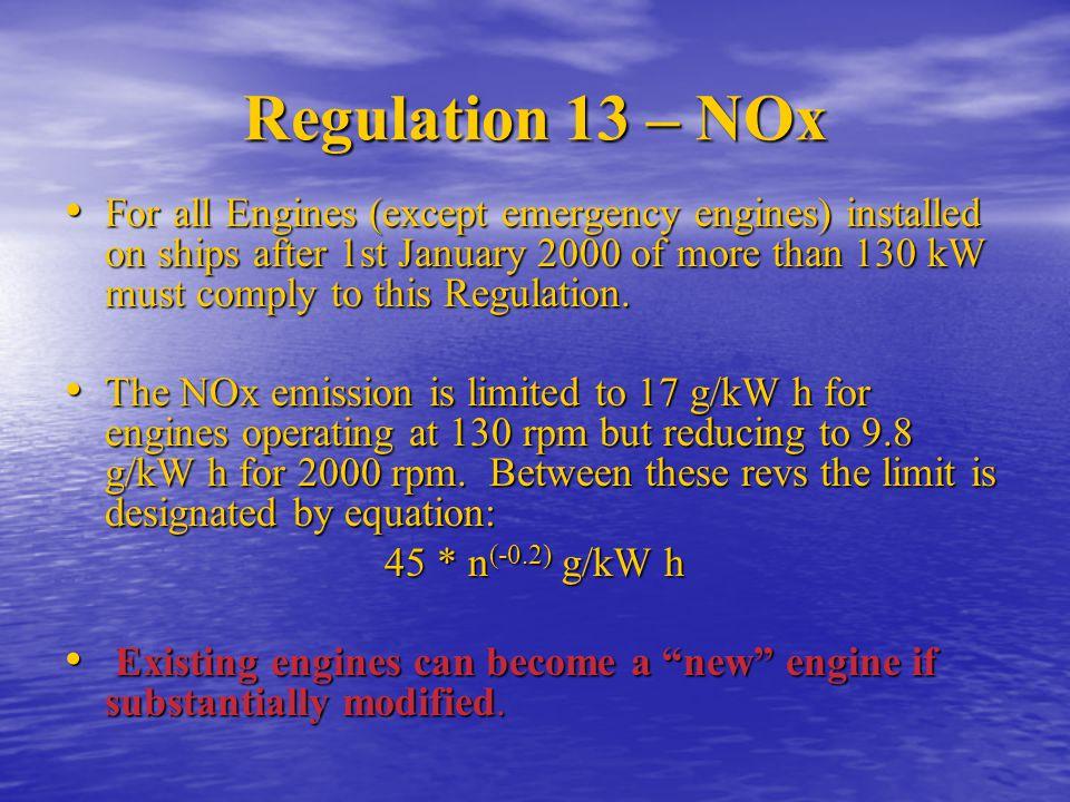 Regulation 13 – NOx