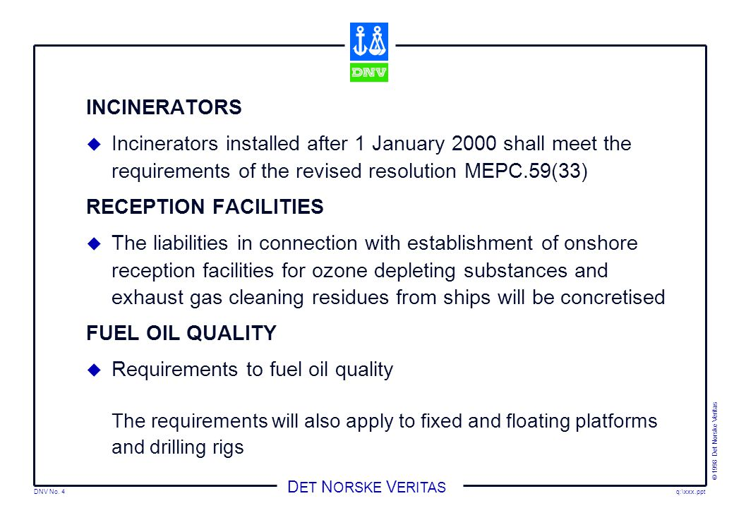 Requirements to fuel oil quality