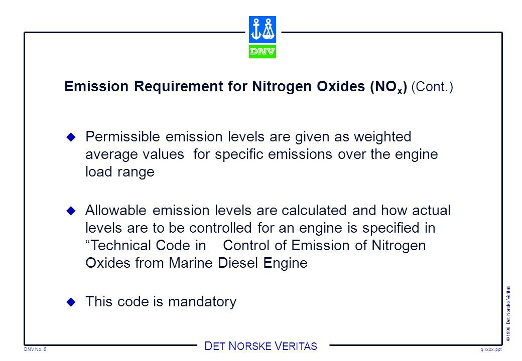 Emission Requirement for Nitrogen Oxides (NOx) (Cont.)