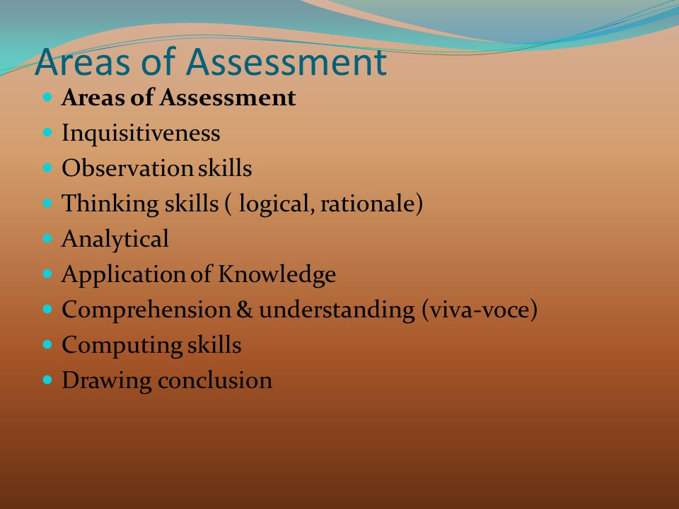 Areas of Assessment Areas of Assessment Inquisitiveness