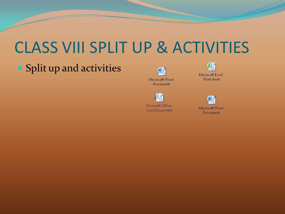 CLASS VIII SPLIT UP & ACTIVITIES