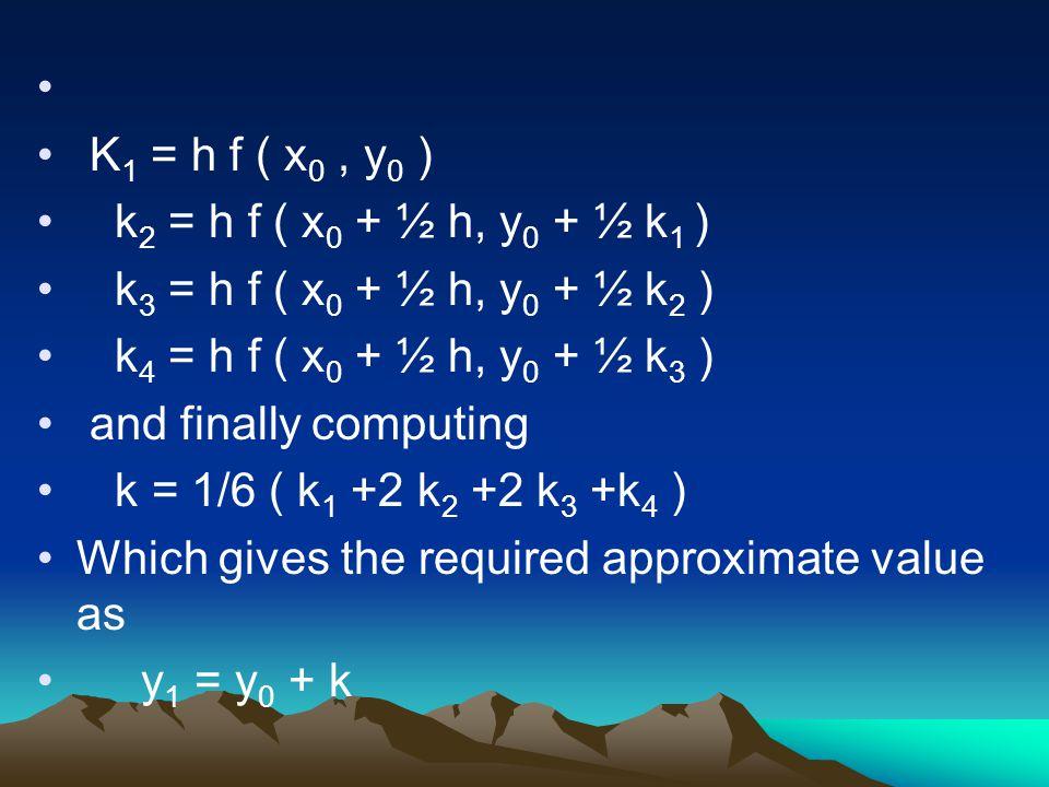 K1 = h f ( x0 , y0 ) k2 = h f ( x0 + ½ h, y0 + ½ k1 ) k3 = h f ( x0 + ½ h, y0 + ½ k2 ) k4 = h f ( x0 + ½ h, y0 + ½ k3 )