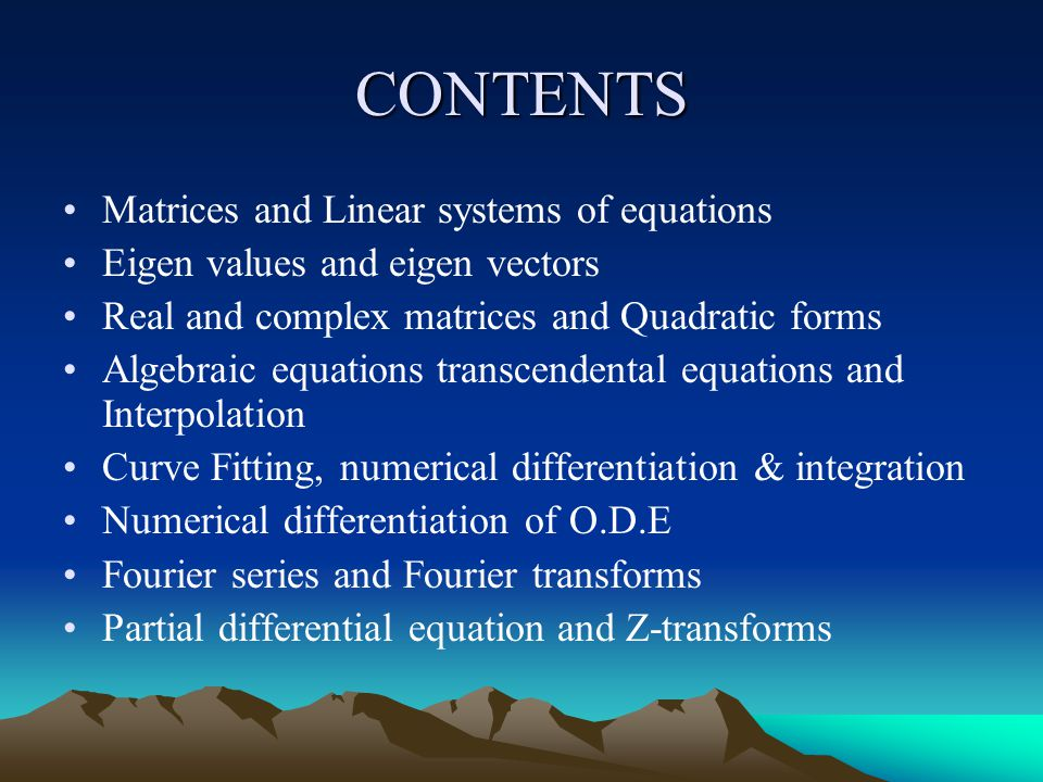 CONTENTS Matrices and Linear systems of equations