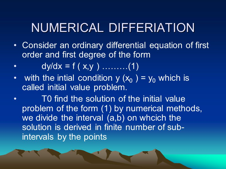 NUMERICAL DIFFERIATION