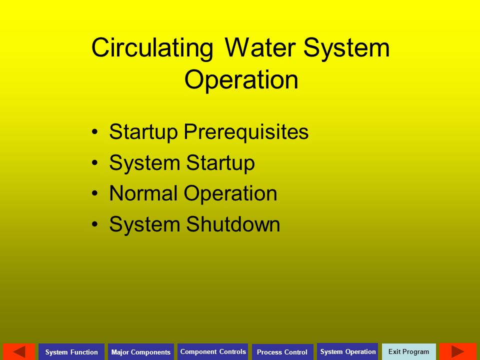 Circulating Water System Operation