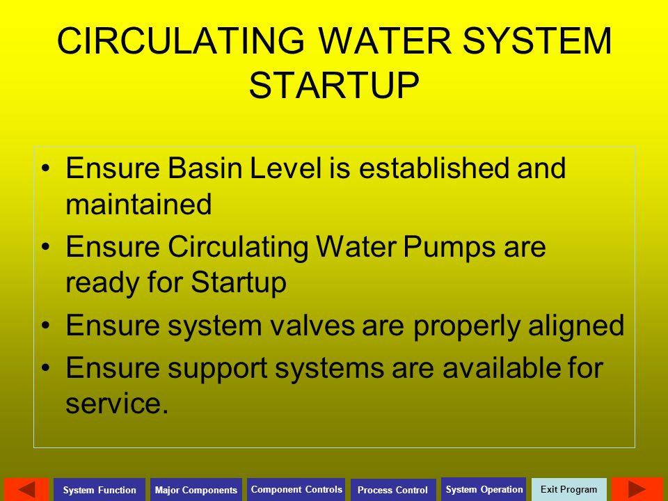 CIRCULATING WATER SYSTEM STARTUP
