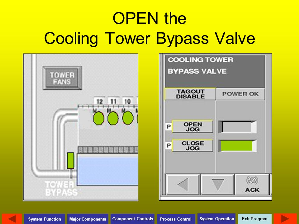 OPEN the Cooling Tower Bypass Valve