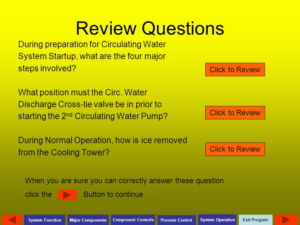 Review Questions During preparation for Circulating Water