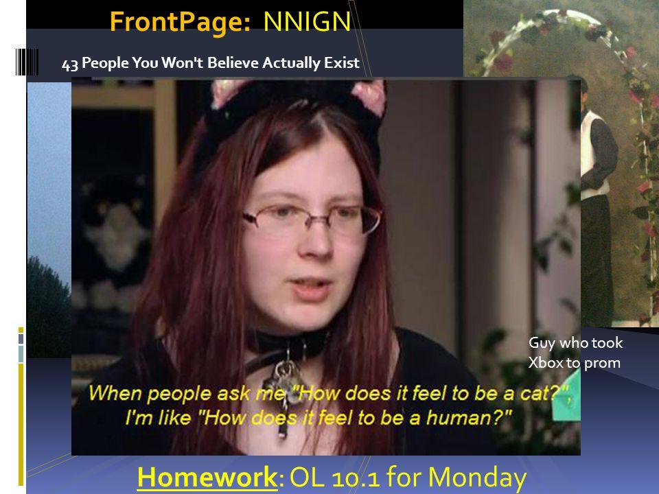 Homework: OL 10.1 for Monday