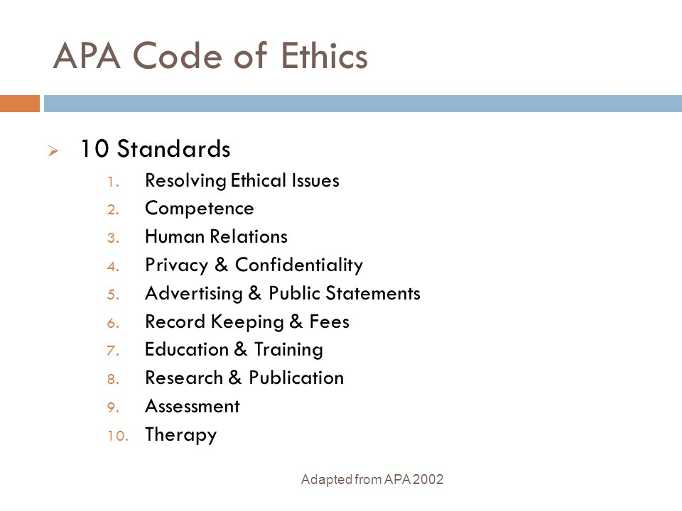 APA Code of Ethics 10 Standards Resolving Ethical Issues Competence