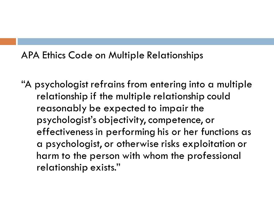 APA Ethics Code on Multiple Relationships