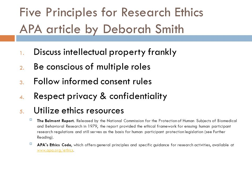 Five Principles for Research Ethics APA article by Deborah Smith
