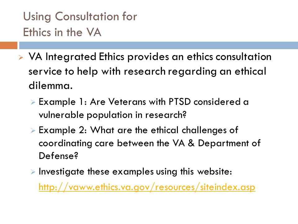Using Consultation for Ethics in the VA