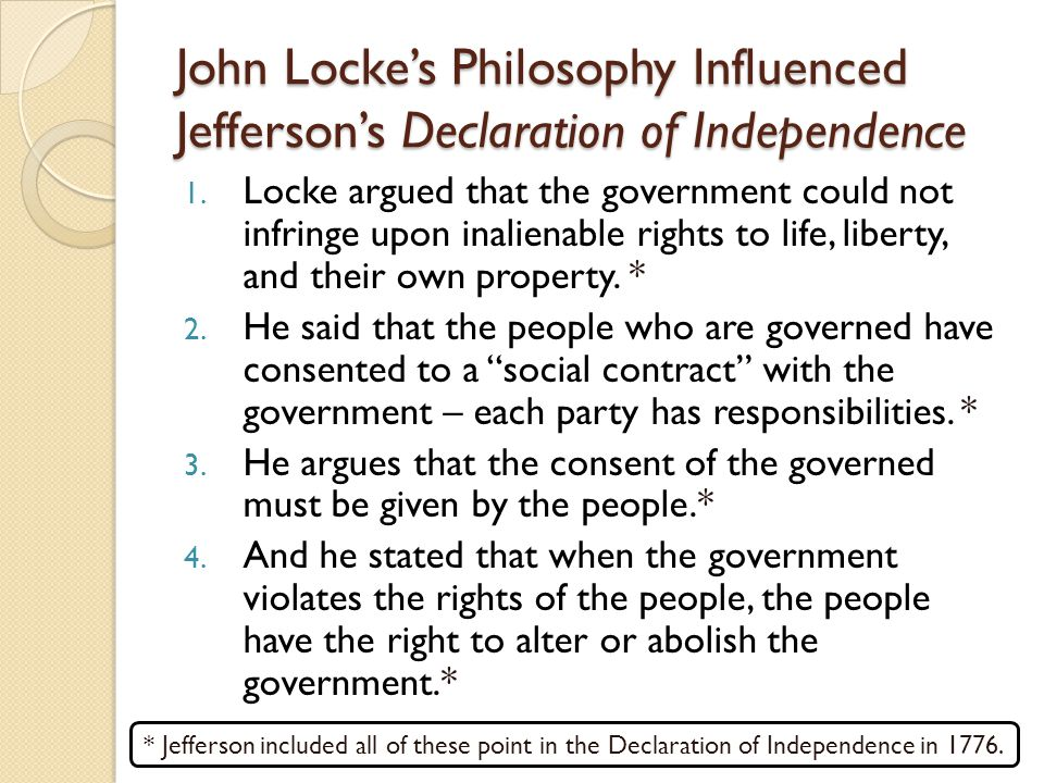 John Locke's Philosophy Influenced Jefferson's Declaration of Independence