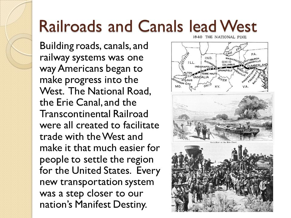 Railroads and Canals lead West