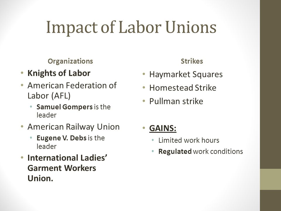 Impact of Labor Unions Knights of Labor