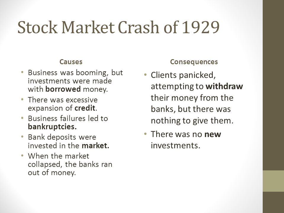 Stock Market Crash of 1929 Causes. Consequences. Business was booming, but investments were made with borrowed money.