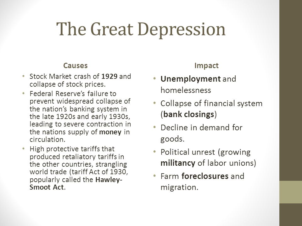 The Great Depression Unemployment and homelessness