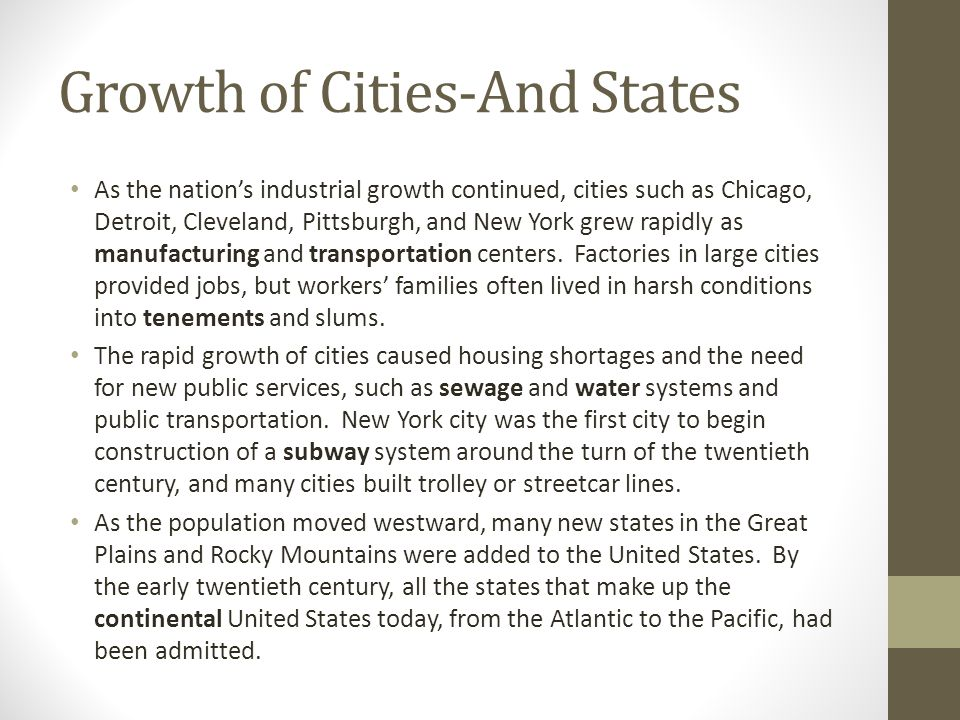Growth of Cities-And States